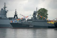 `Serpukhov` is a small rocket ship. KRONSTADT, SAINT PETERSBURG, RUSSIA - AUGUST 21, 2017: warships docked in Peter the great middle harbour Royalty Free Stock Photos