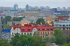 Kronverksky aleja i Petrogradsky wyspa od wzrosta bird& x27; s lot w świętym Petersburg, Rosja fotografia royalty free