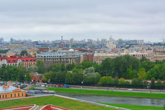 Kronverksky przejście i Petrogradsky wyspa od wzrosta bird& x27; s lot w świętym Petersburg, Rosja Fotografia Stock