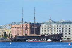 Kronwerk和Kronwerkskaya堤防在圣彼德堡,俄罗斯 免版税库存照片