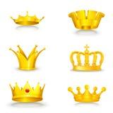 Kroon die op wit wordt geplaatst Stock Foto's