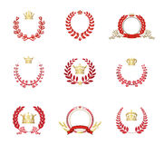 Kroon en Laurel Wreaths Vector Set Red Royalty-vrije Stock Foto