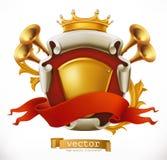 Kroon en Schild Koning Het pictogram van toestellen stock illustratie