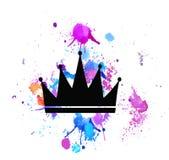 Kroon met de luxe uitstekende stijl van stralenillustraties royalty-vrije illustratie