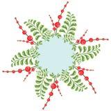 Kroon met rode bessen annd bladeren royalty-vrije illustratie