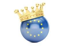 Kroon met vlag van de EU, het 3D teruggeven Stock Foto