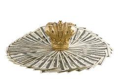 Kroon op dollars Stock Afbeelding