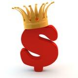 Kroon op rood dollarteken (5) Royalty-vrije Stock Afbeelding