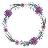 Kroon van de bloemen van de waterverfzomer vector illustratie