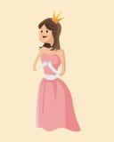 Kroon van de het verhaal de roze kleding van de schoonheidsprinses Royalty-vrije Stock Foto's