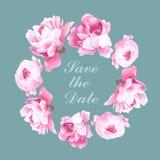 Kroon van de waterverf de bloemen romantische pioen Stock Afbeeldingen