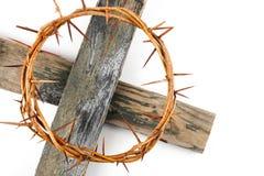 Kroon van doornen en kruis stock foto's
