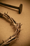 Kroon van doornen en spijkers stock fotografie
