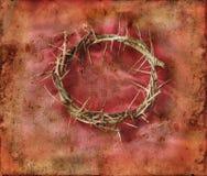 Kroon van Doornen op Rode Achtergrond Grunge Stock Foto
