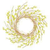Kroon van jonge wilgentakken De samenstelling zal het huis verfraaien Symbool van Pasen en de lente Vector illustratie vector illustratie