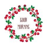 Kroon van kers op witte achtergrond Ouderwetse ochtendscène: antieke schrijfmachine, kop van verse koffie, bedrijfscontract en pe Royalty-vrije Stock Afbeeldingen