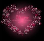 Kroon van Rozen of Pioenenbloemen met Gradi?nt van Razzmatazz, Rood, Roze, Antiek Ruby Colors bloemenkader fesign elementen voor stock illustratie