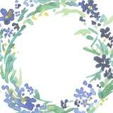 Kroon van waterverf de blauwe bloemen vector illustratie