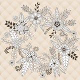 Kroon vectordieillustratie van bloemen en kruiden wordt gemaakt vector illustratie