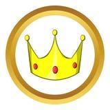 Kroon vectorpictogram, beeldverhaalstijl Stock Foto