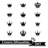 Krooninzameling - vectorsilhouet Royalty-vrije Stock Foto's