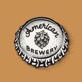 Kroonkurk van het ambachtbier met brouwende inschrijving in uitstekende stijl Royalty-vrije Stock Afbeelding