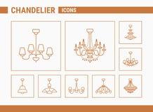 Kroonluchter Vectorpictogrammen - Vastgesteld Web & Mobile 01 vector illustratie