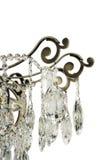 Kroonluchterlicht in binnenland, Chrystal-kroonluchterclose-up kristaldeel van kroonluchter, kroonluchter, verlichting, materiaal Stock Foto