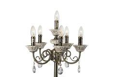 Kroonluchterlicht in binnenland, Chrystal-kroonluchterclose-up kristaldeel van kroonluchter, kroonluchter, verlichting, materiaal Stock Afbeeldingen