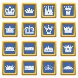 Kroonpictogrammen geplaatst blauw royalty-vrije illustratie