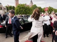 Kroonprins Frederik van Denemarken en Prinses Mary stock foto