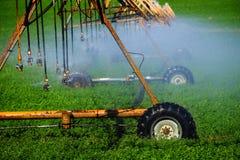 Kropidła Iryguje uprawy pole Uprawia ziemię adra bujny zieleń zdjęcie stock