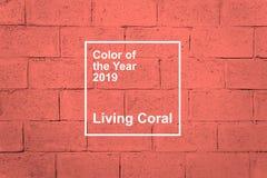 KROPIVNITSKIY, UKRAINE – 06 December, 2018: Living Coral, Pantone color of the year 2019 fabric textile background. Living stock images