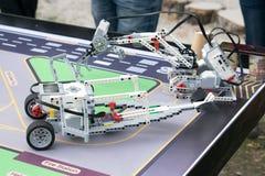 KROPIVNITSKIY, UKRAINE – 07 OCTOBER, 2017: Robotics lessons. B. Oys and girls construct and programming code Robot Lego Mindstorms EV3. STEM education stock image