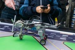 KROPIVNITSKIY, UKRAINE – 07 OCTOBER, 2017: Robotics lessons. B. Oys and girls construct and programming code Robot Lego Mindstorms EV3. STEM education stock photography