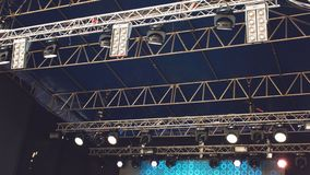 KROPIVNITSKIY; UKRAINE – 16 September; 2017: Light from the scene in the day, before rock concert. Stage Lights, show royalty free stock photography