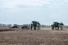 KROPIVNITSKIY; UKRAINE – 22 September; 2017: Panoramic view agricultural exhibition Agroexpo-2017. Demonstration of stock image
