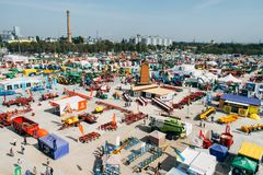 KROPIVNITSKIY; UKRAINE – 22 September; 2017: Panoramic view agricultural exhibition Agroexpo-2017. Exhibitors, Visitors stock photography