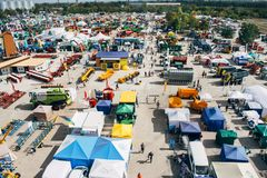 KROPIVNITSKIY; UKRAINE – 22 September; 2017: Panoramic view agricultural exhibition Agroexpo-2017. Exhibitors, Visitors royalty free stock image