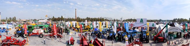 KROPIVNITSKIY; UKRAINE – 22 September; 2017: Panoramic view agricultural exhibition Agroexpo-2017. Exhibitors, Visitors royalty free stock photo