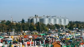KROPIVNITSKIY; UKRAINE – 22 September; 2017: Panoramic view agricultural exhibition Agroexpo-2017. Exhibitors, Visitors royalty free stock images