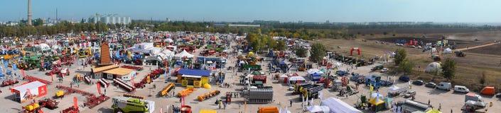 KROPIVNITSKIY; UKRAINE – 22 September; 2017: Panoramic view agricultural exhibition Agroexpo-2017. Exhibitors, Visitors stock image