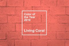 KROPIVNITSKIY, UKRAINE – 06 December, 2018: Living Coral, Pantone color of the year 2019 fabric textile background. Living. Coral textural stock images