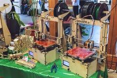 KROPIVNITSKIY, UKRAINE 12 MAY, 2018: Plywood 3D printer graber i3. Wooden Three dimensional printing machine and various 3D. KROPIVNITSKIY, UKRAINE royalty free stock images