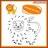 Kropka kropkować śmieszną grę dla dzieciaków z lwem ilustracji