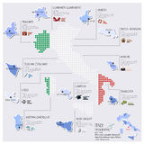 Kropki I flaga mapa Włochy Infographic projekt Obrazy Royalty Free