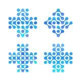 Kropki krzyżują loga set Błękitów okregów kształty, czysta woda logotyp Abstrakcjonistyczni apteka znaki Nowa technologia, medycz royalty ilustracja