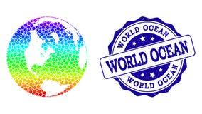 Kropki t?czy mapa Globalna oceanu i Grunge znaczka foka ilustracji