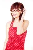 kropki ubierają z włosami polki czerwonej target1373_0_ kobiety Zdjęcia Stock
