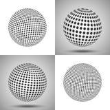 kropkowana sfera 3d abstrakta tło Set wektorowy sfera dowcip Ilustracja Wektor